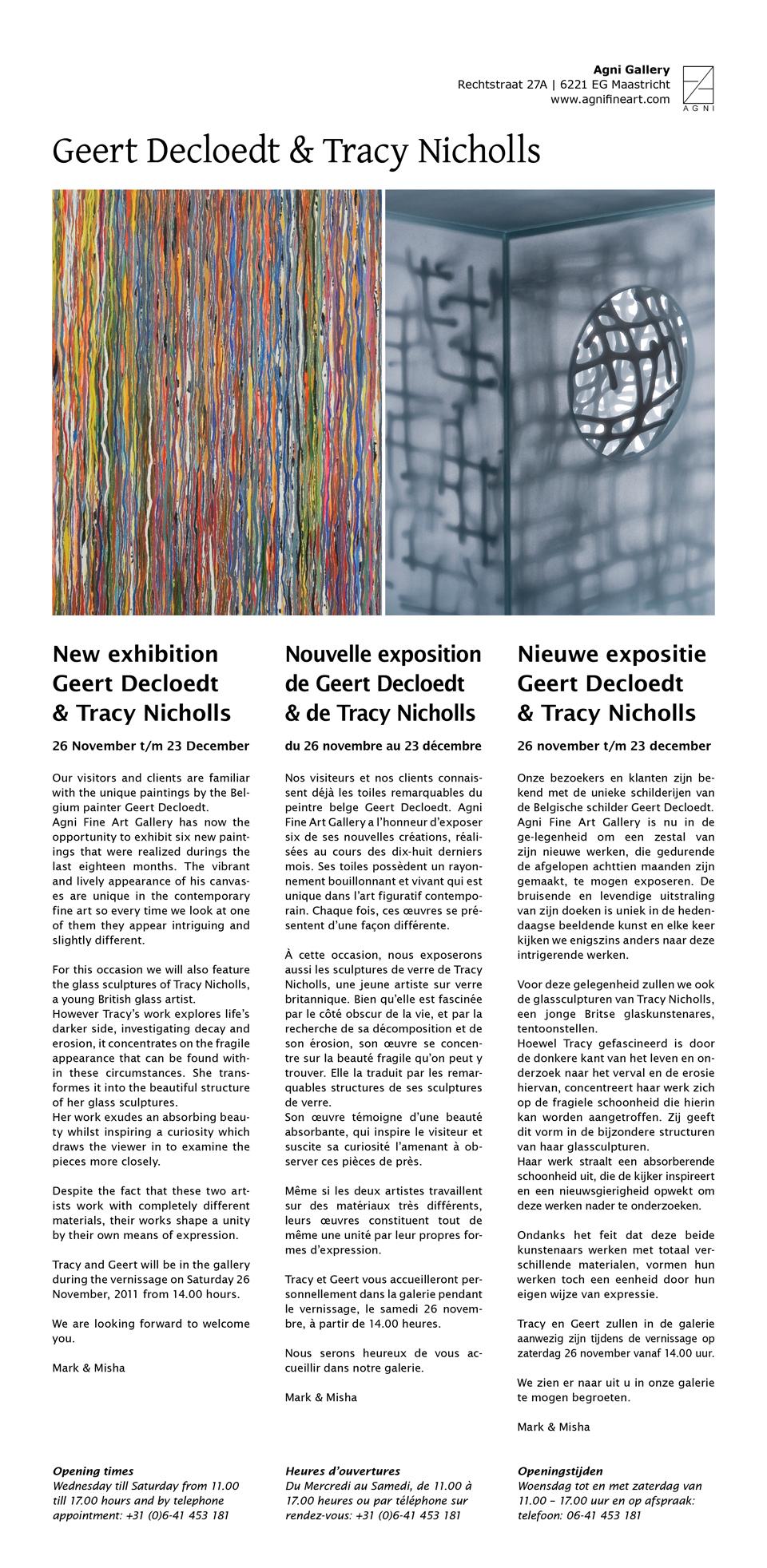 Nieuwe expositie Geert Decloedt & Tracy Nickolls